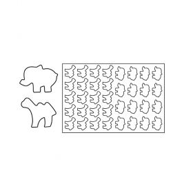 PF14-Elephant and Camel-plastic-cookies cutting sheets-Pavoni Italia